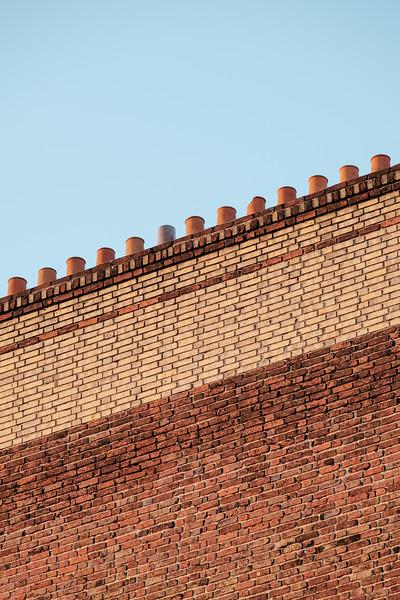 Brick wall and chimneys in Paris