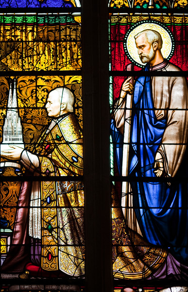 Stained glass window, Saint-Corentin Cathedral, town of Quimper, departament of Finistere, region of Brittany, France