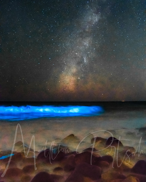 Malibu Pt. Mugu -  Milky Way and the glowing waves.  The blue light is caused by a massive red tide, or algae bloom, of bioluminescent phytoplankton called Lingulodinium polyedrum. ... The result is a cool glowing ocean.