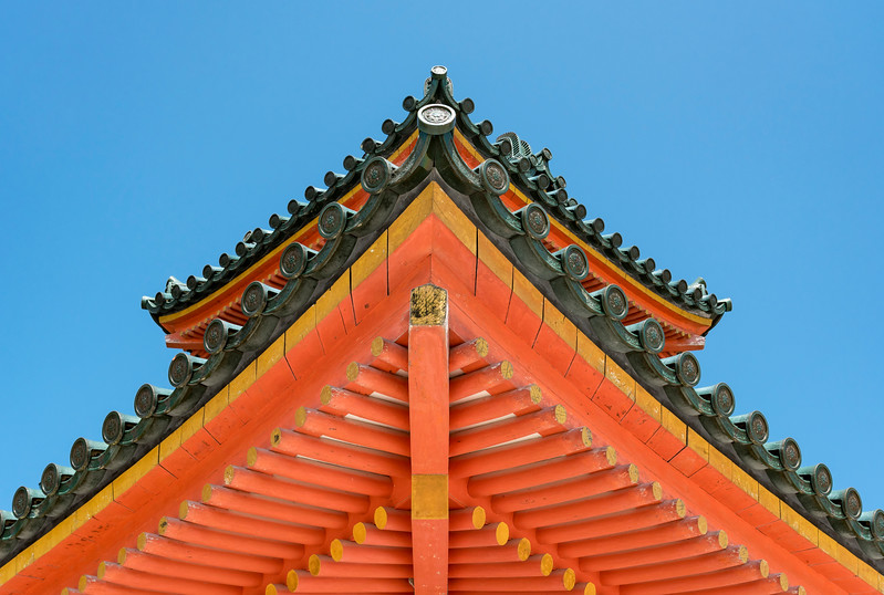 Detail of roof of Main gate of Heian Jingu, Shinto Shrine, Kyoto, Japan
