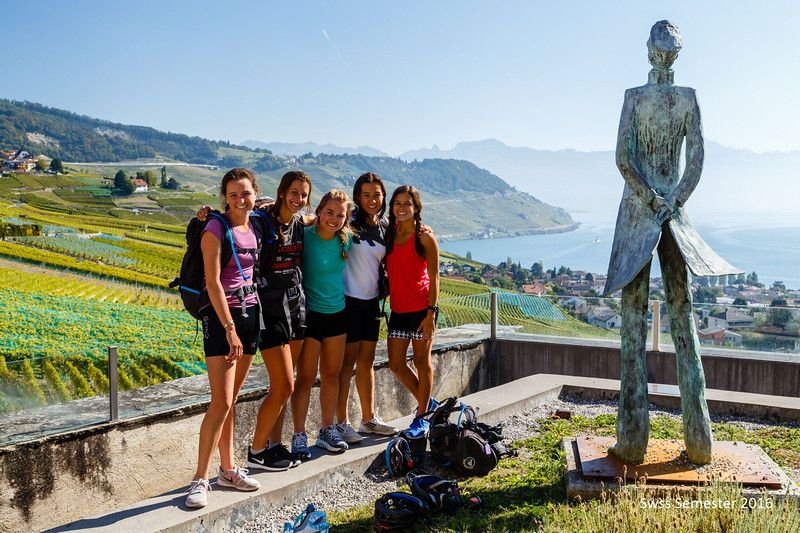 Peyton, Bella, Penelope, Mia, and Whitney in the vineyards above Lac Leman