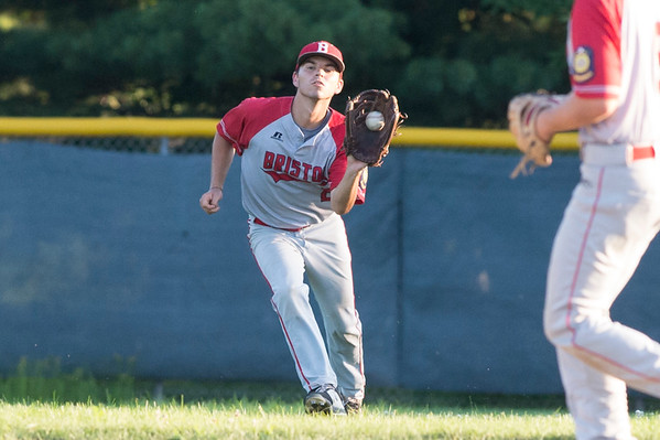 07/08/19 Wesley Bunnell | Staff Newington baseball defeated Bristol in an American Legion game in Newington on Monday July 8, 2019. Cory Fradette (2) with a catch in center.