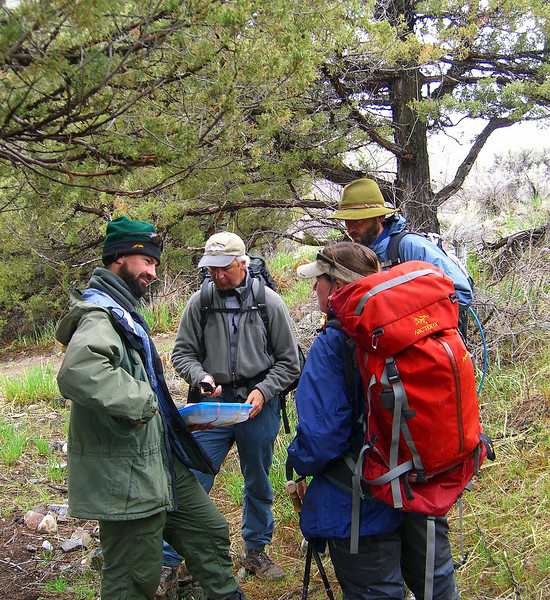 May 12 Nathan feeding the porters Ma Varley lemon bars. Eric, Mark, Ashea, rest stop before chugwater mud exposed trail