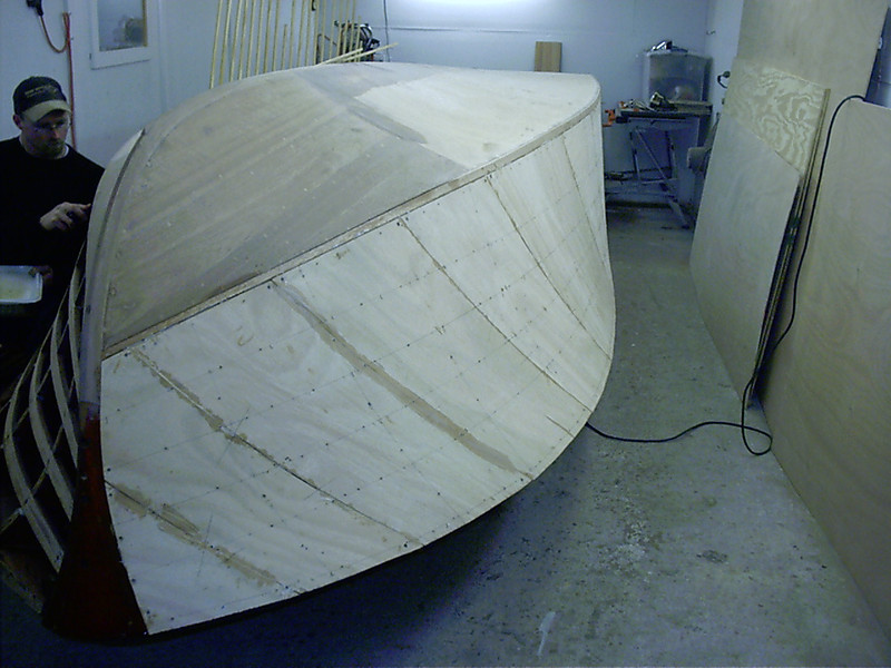Starboard side plywoo glued in place.
