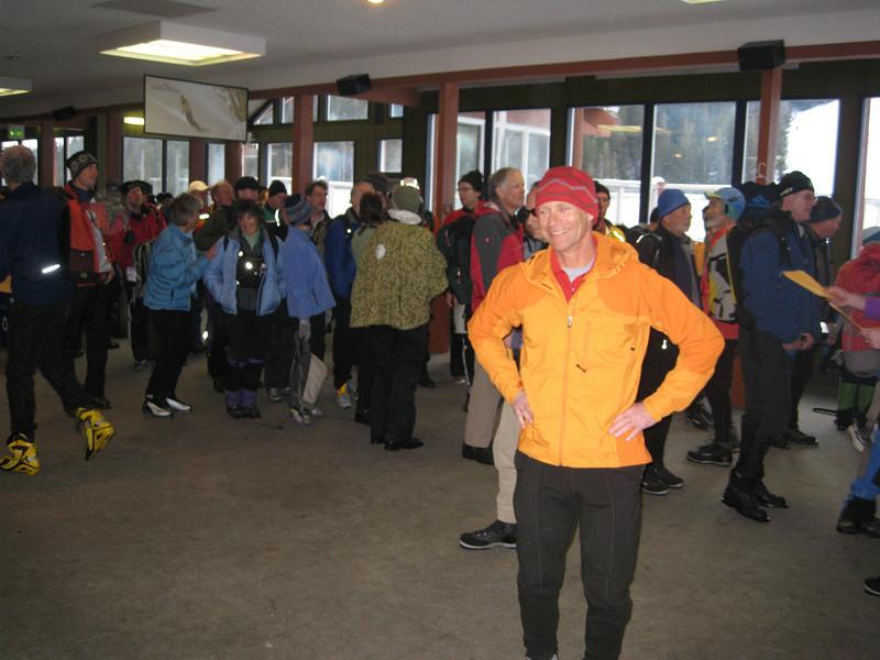 Waiting in line. Lots of skiers!