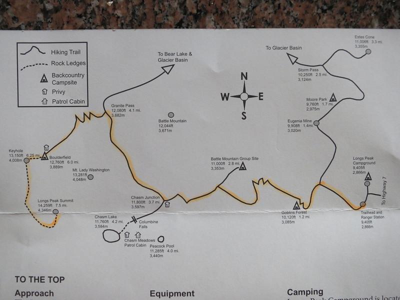 Note elevations and distances from the Longs Pk trailhead (TH) - 7.5 miles one-way, total gain of over 5,000 ft.