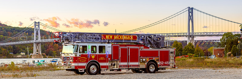 New Hackensack's new 2020 107' Pierce Ascendant 52-45  at the Mid-Hudson Bridge