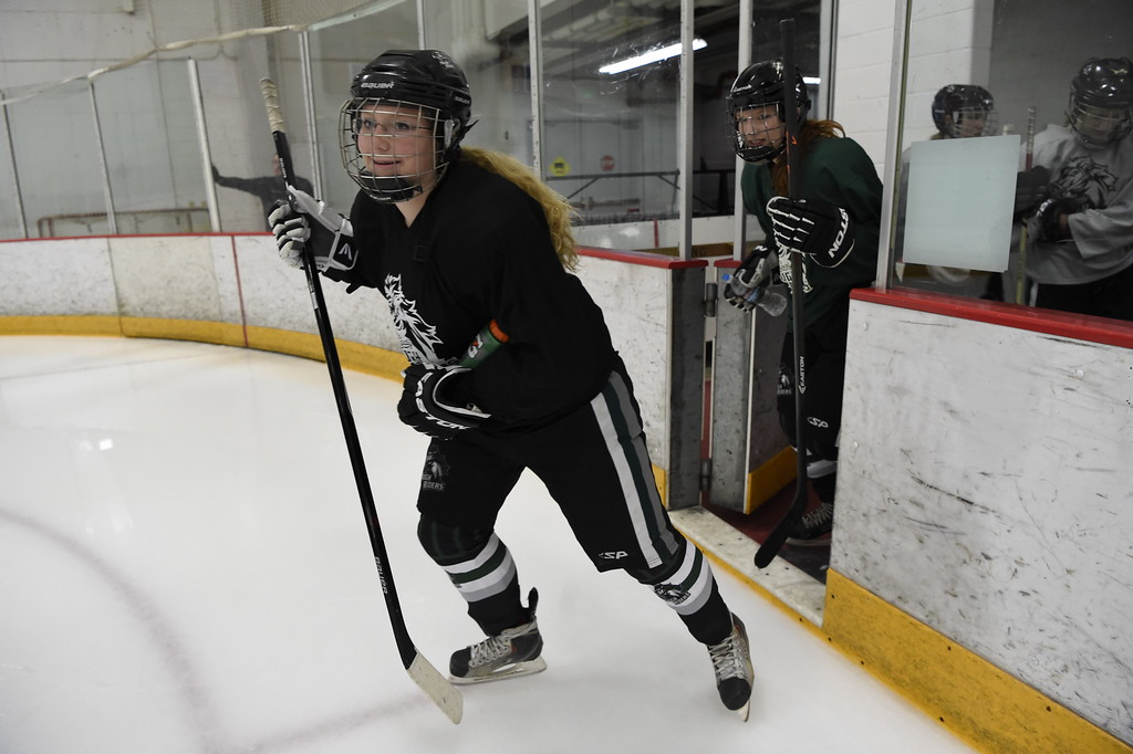. The Lady Rough Riders hit the ice for their practice February 21, 2016 at the Ice Center at the Promenade. The growth of hockey in Colorado has gone up  in the last 20 years since The Avalanche came to town. (Photo By John Leyba/The Denver Post)