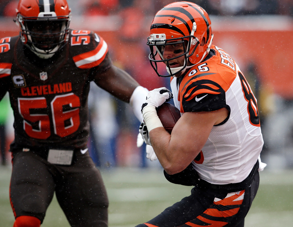 . Cincinnati Bengals tight end Tyler Eifert scores on a 14-yard touchdown reception in the first half of an NFL football game against the Cleveland Browns, Sunday, Dec. 11, 2016, in Cleveland. (AP Photo/Ron Schwane)