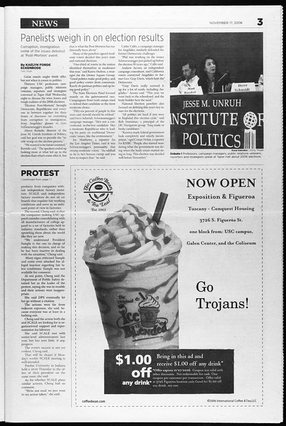 Daily Trojan, Vol. 159, No. 62, November 17, 2006