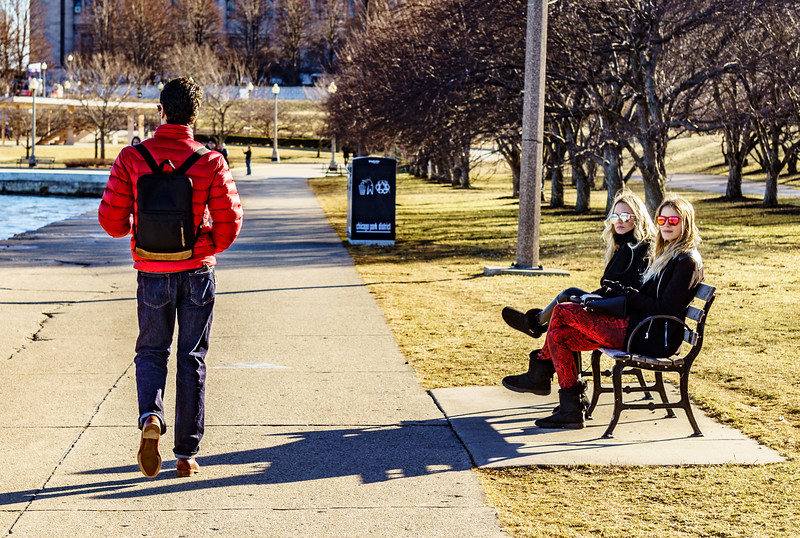 Girl in Red Pants Watching the Boy in the Red Jacket Go By