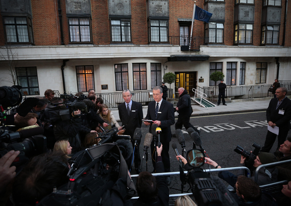 Description of . King Edward VII hospital chief executive John Lofthouse (CR) standing next to the hospital\'s chairman Simon Arthur (CL) speaks to the media outside the hospital in London on December 7, 2012 after nurse Jacintha Saldanha was found dead at a property close by. A nurse at the hospital which treated Prince William\'s pregnant wife Catherine, Duchess of Cambridge, was found dead on December 7, days after being duped by a hoax call from an Australian radio station, the hospital said. Police said they were treating the death, which happened at a property near the hospital, as unexplained.  CARL COURT/AFP/Getty Images