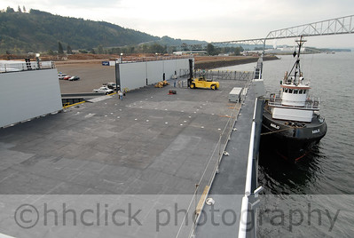 Sause Bros. barge, Kamakani, at Teevin Bros. facility in Rainier, Oregon prior to loading and maiden voyage