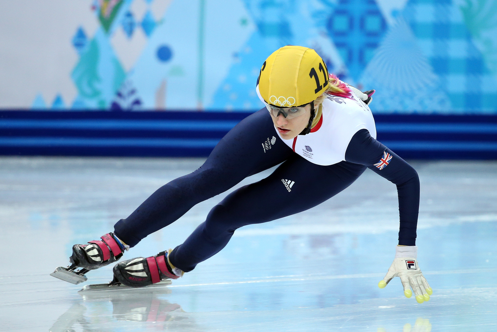 . Elise Christie of Great Britain competes in the Short Track Women\'s 1000m Semifinals on day fourteen of the 2014 Sochi Winter Olympics at Iceberg Skating Palace on February 21, 2014 in Sochi, Russia.  (Photo by Ryan Pierse/Getty Images)