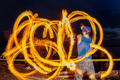Fire Spinning at Locust Beach in Bellingham, Wash.