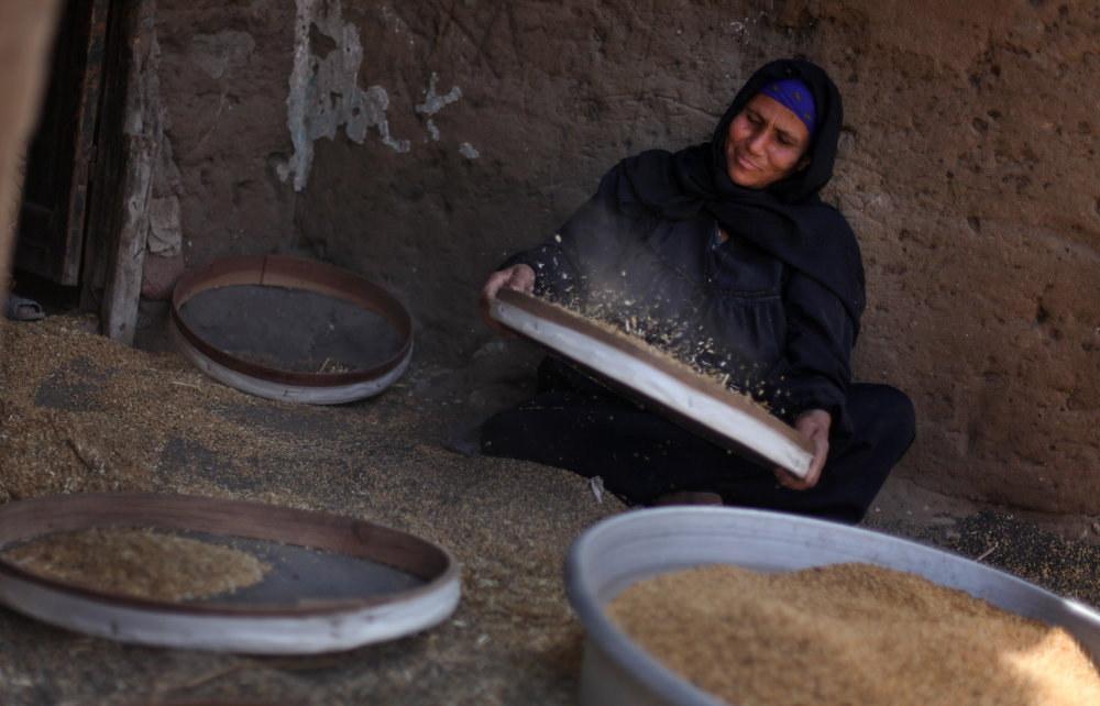 . A Palestinian refugee sifts wheat for making bread, in her house in Gezirat al-Fadel village, Sharqiya, about 150 kilometers (93 miles) east of Cairo, Egypt.  (AP Photo/Khalil Hamra)