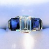 2.83ctw Vintage Emerald Diamond and Sapphire Trilogy Ring 9