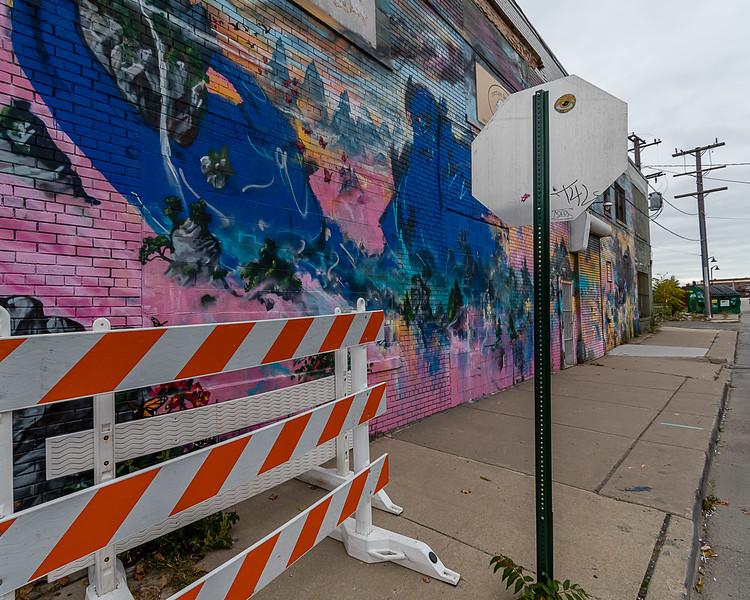 Orange Barricade and Mural