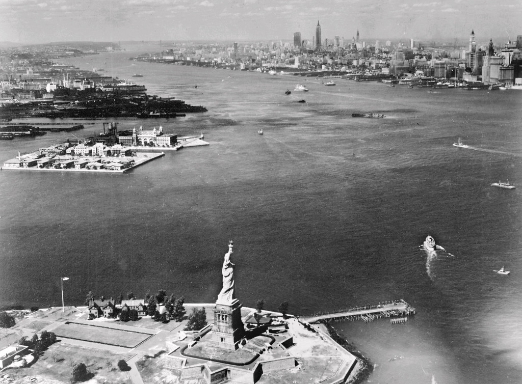 . Aerial view of part of New York\'s Upper Bay showing section of the New York and New Jersey shore-lines and the Statue of Liberty taken 20 July 1951 in New York.    (/AFP/Getty Images)