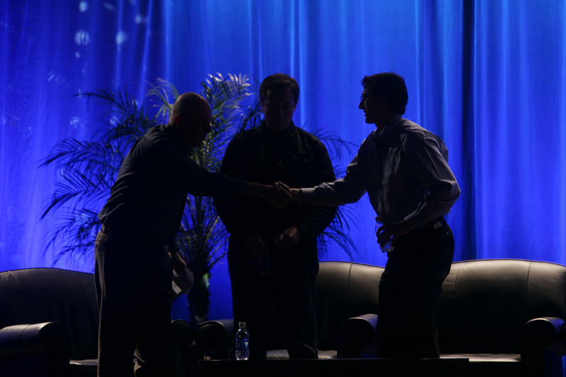 """The opening to """"Earth on FiRe: Rapid Response to Climate Crisis"""": (L-R) Host Steve Evans, BBC World Service; Elon Musk, SpaceX; and Lyndon Rive, SolarCity"""