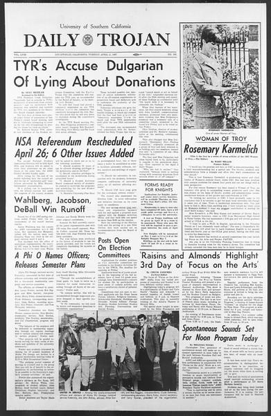 Daily Trojan, Vol. 58, No. 102, April 11, 1967
