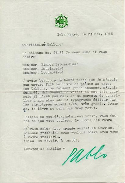 Pablo Neruda, 1968