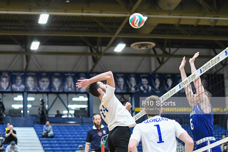 TORONTO, CANADA - Feb 21: during OCAA Volleyball Provincial Championship game 4 between Game 4 - NO. 11 GEORGIAN GRIZZLIES MEN'S VOLLEYBALL VS NIAGARA KNIGHTS at Humber Hawks Athletics Center. Photo: Michael Fayehun/F10 Sports Photography