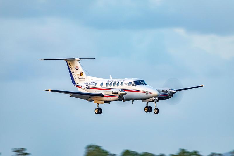 RFDS Beechcraft B200C Super King Air VH-FDI landing at Rockhampton Airport 30-01-19.