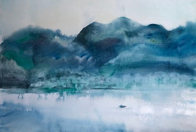 """Harmony in shades of blue"" (watercolor) by Natalya Grishina"