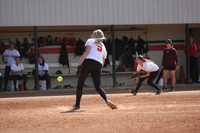 Cindy Boomhower pitching.