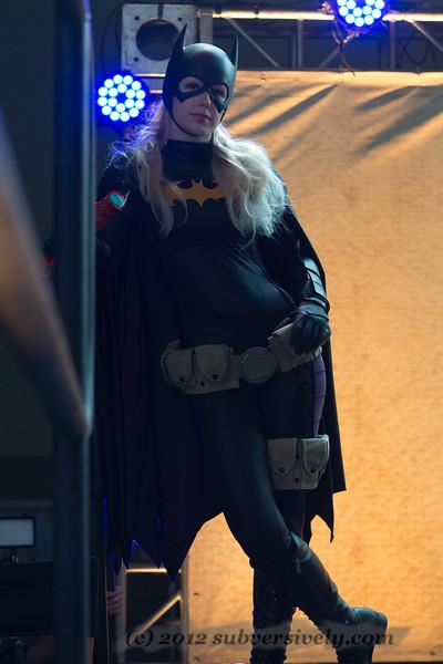 Batgirl (Marisha Ray) waits for her cue.