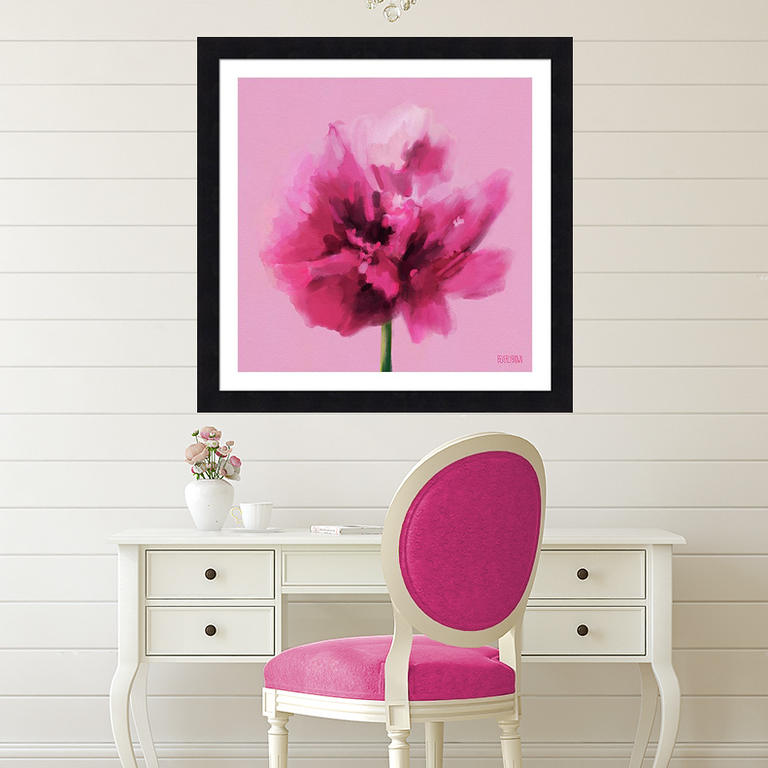 Glam hot pink black office decor carnation floral wall art print by Beverly Brown - beverlybrown.com