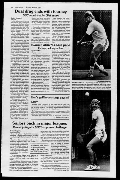 Daily Trojan, Vol. 90, No. 47, April 23, 1981
