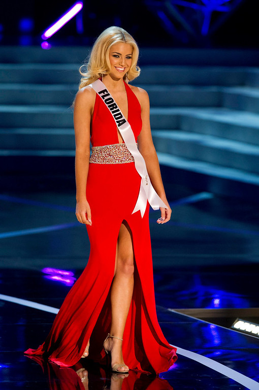 . Miss Florida USA 2013, Michelle Aguirre, competes in her evening gown during the 2013 MISS USA Competition Preliminary Show at PH Live in Las Vegas, Nevada June 12, 2013.  She will compete for the title of Miss USA 2013 and the coveted Miss USA Diamond Nexus Crown LIVE on NBC starting at 9:00 PM ET on June 16th, 2013 from PH Live.  Picture taken June 12, 2013.  REUTERS/Darren Decker/Miss Universe Organization L.P., LLLP/Handout via Reuters