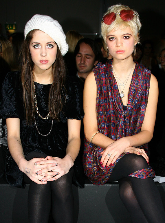 . LONDON - FEBRUARY 11:  Sisters Peaches (L) and Pixie Geldof attend the PPQ collection during London Fashion Week Autumn/Winter 2008 on February 11, 2008 in London, England.  (Photo by Gareth Cattermole/Getty Images)