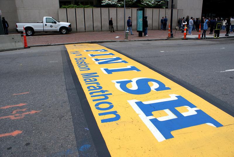 The end: The finish line of the Boston Marathon