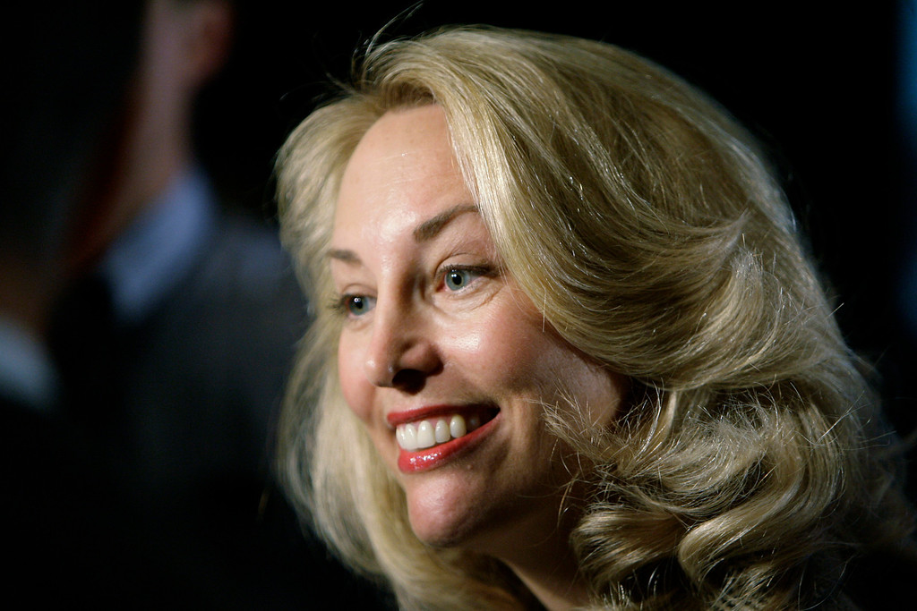 """. FILE-   This Friday, May 9, 2008 file photo shows former CIA officer Valerie Plame as she speaks at an annual \""""power lunch\"""" hosted by Illinois Rep. Jan Schakowsky in Chicago. With the release Friday of \""""Fair Game,\"""" the movie based on her infamous 2003 \""""outing\"""" as a CIA agent, Plame is back in the spotlight.   (AP Photo/M. Spencer Green, FILE)"""