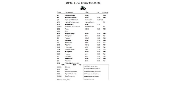 2016 Cedar Park Girls Soccer Schedule