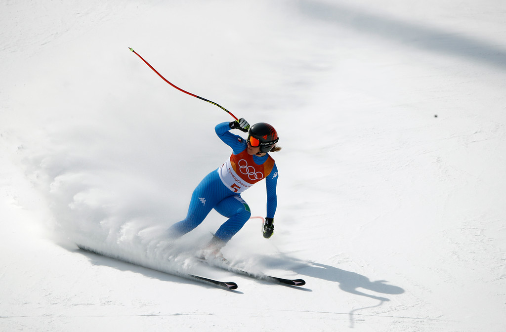 . Italy\'s Sofia Goggia comes to a stop in the women\'s downhill at the 2018 Winter Olympics in Jeongseon, South Korea, Wednesday, Feb. 21, 2018. (AP Photo/Charlie Riedel)