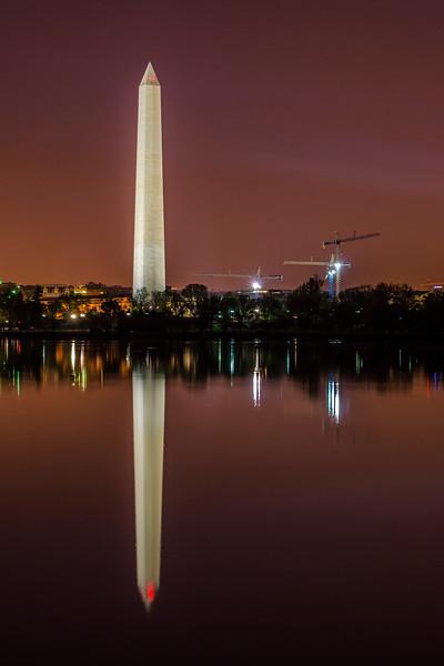 Washington Monument reflected in the Tidal Basin before dawn - Washington, DC