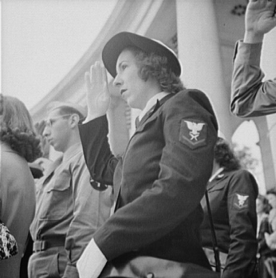 . Arlington Cemetery, Arlington, Virginia. Spectators at the Memorial Day services in the amphitheater. Esther Bubley, Photographer.  Courtesy the Library of Congress