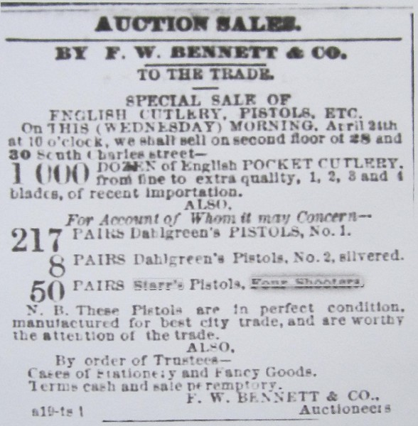 1867.04.24 The Baltimore Sun Auction Ad Apr 24, 1867.JPG