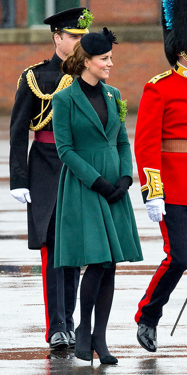 . Catherine, Duchess of Cambridge attends a St Patrick\'s Day parade by the 1st Battalion Irish Guards as she visits Aldershot Barracks on St Patrick\'s Day on March 17, 2013 in Aldershot, England.  (Photo by Ben Pruchnie/Getty Images)