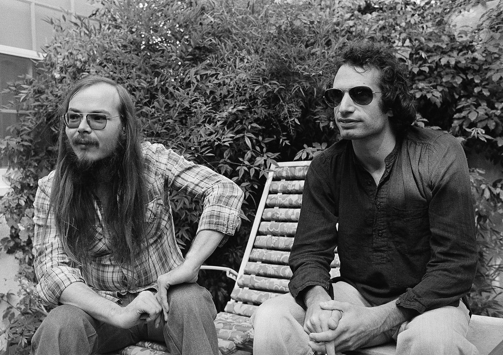 . FILE - In this Oct. 29, 1977, file photo, Walter Becker, left, and Donald Fagen of Steely Dan, sit in Los Angeles. Becker, the guitarist, bassist and co-founder of the rock group Steely Dan, has died. He was 67. His official website announced his death Sunday, Sept. 3, 2017, with no further details. (AP Photo/Nick Ut, File)