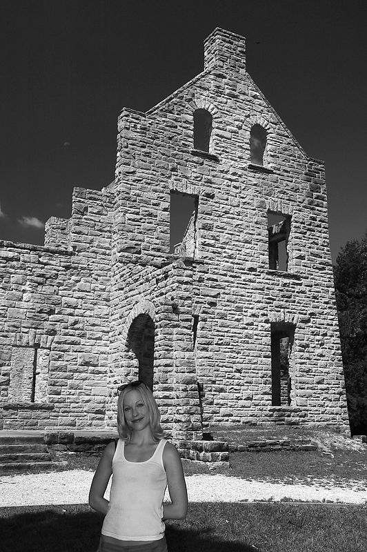 Kate posing in front of the ruins.