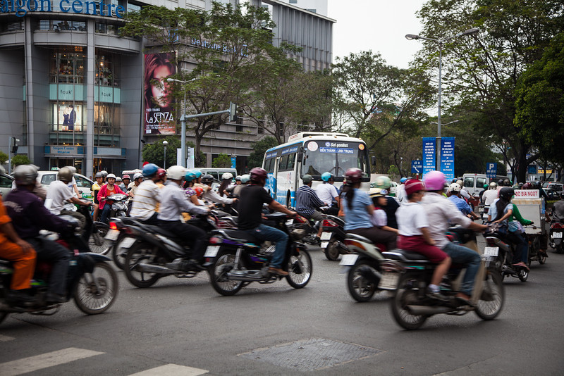 A view of chaotic traffic at an intersection in Saigon. The intersection is Le Loi and Pasteur, I believe.