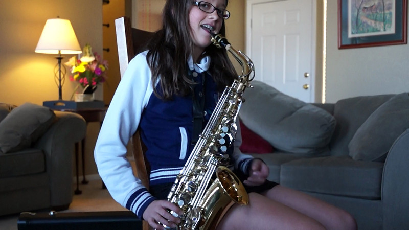 Abby Practicing the Saxophone