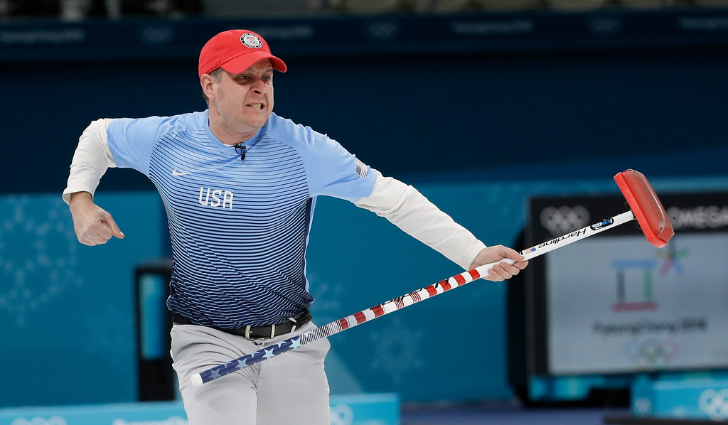 . United States\'s skip John Shuster reacts during the men\'s final curling match against Sweden at the 2018 Winter Olympics in Gangneung, South Korea, Saturday, Feb. 24, 2018. (AP Photo/Natacha Pisarenko)
