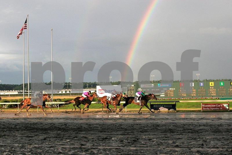 Horse racing at Emerald Downs race track near Seattle, WA.