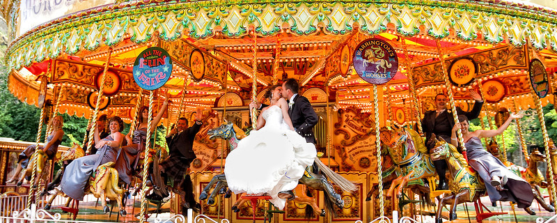 Bride and Groom on Merry Go Round
